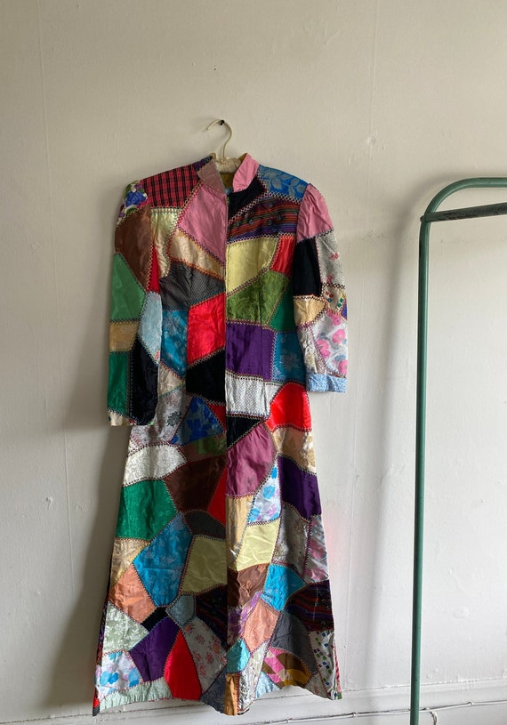 1960s Psychedelic Crazy Quilt Patchwork Dress - image 4
