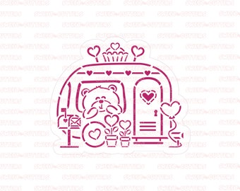 Christmas Campervan PYO Stencil for cookies and crafting