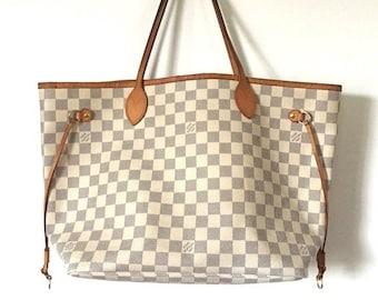 dbf2dca43 Authentic Louis Vuitton White Monogram Neverfull MM Azur Shoulder Bag  Handbag Tote Purse