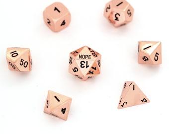 Critical Failure NOPE  : Pink Copper dnd dice 25mm metal D20