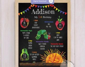 First Birthday Poster, First Birthday Sign, First Birthday Print, Hungry Caterpillar, Blackboard, Personalised, Keepsake, Milestone, Digital