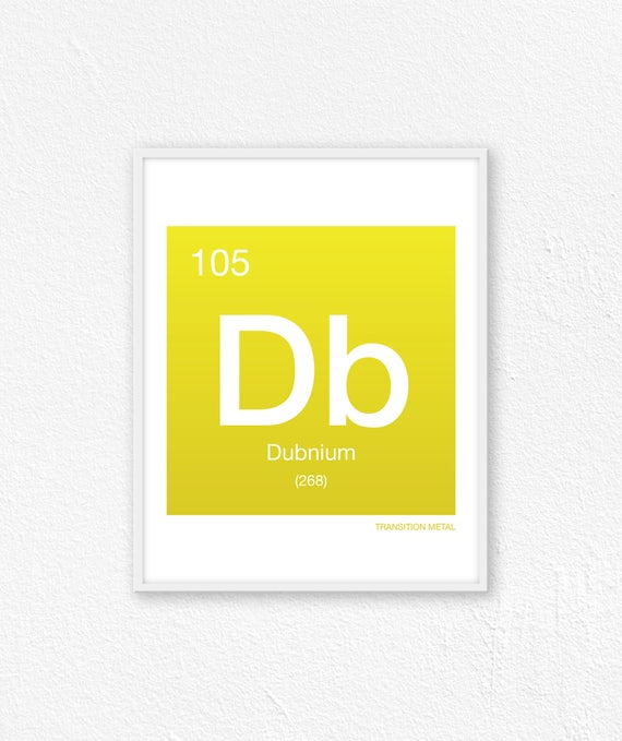105 Dubnium Periodic Table Element Periodic Table Of Etsy