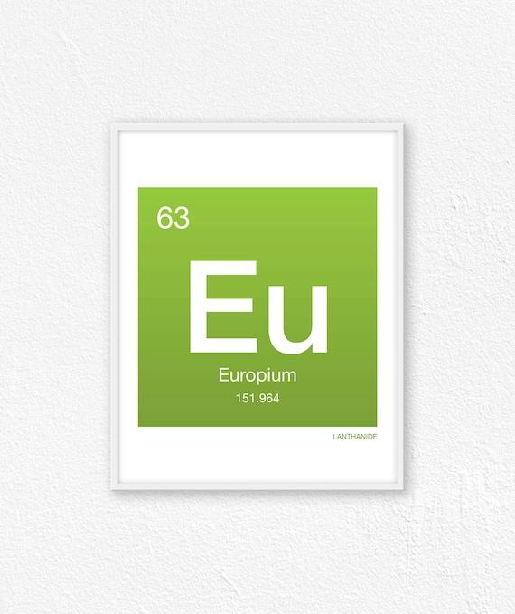 63 Europium Periodic Table Element Periodic Table Of Etsy