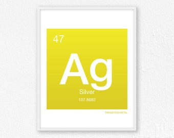 Periodic table name etsy 47 silver periodic table element periodic table of elements science wall art urtaz Choice Image