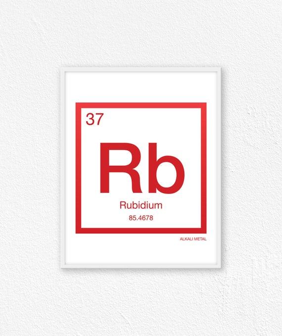 37 Rubidium Periodic Table Element Periodic Table Of Etsy
