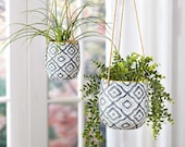 Hanging Planters Pots (Sets of 2 with Jute rope) Hanging Planter Basket with Pot Holder Indoor or Outdoor Use Planters with Jute Rope
