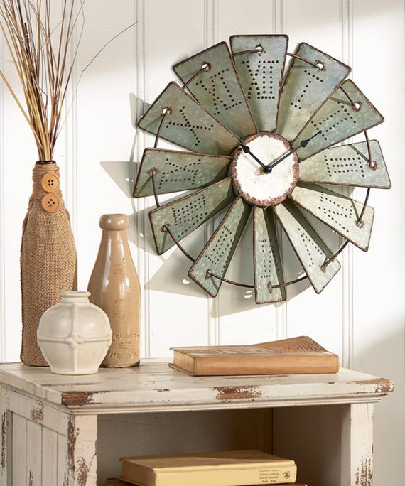Metal Windmill Wall Clock | Country Decor | Rustic Country Primitive Roman Numerals Wall Clock