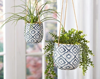 Hanging Planters Pots (Sets of 2 with Jute rope)| Hanging Planter Basket with Pot Holder | Indoor or Outdoor Use | Planters with Jute Rope