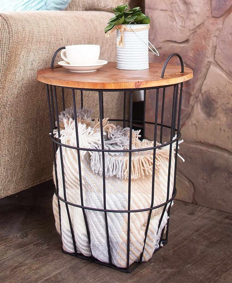 Side Table With Storage ( Wooden Top), Coffee Table