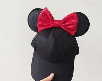 557eceb46c0 Black Mickey Minnie Ears Hat Cap