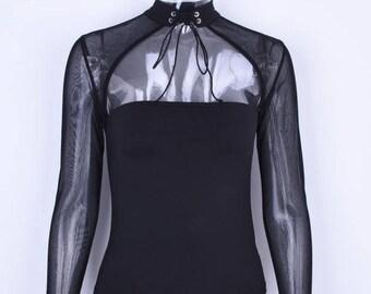 black lace longsleeve tie up mock neck bodysuit | Sheer Bodysuit | Sexy Bodysuit | Womens Bodysuit