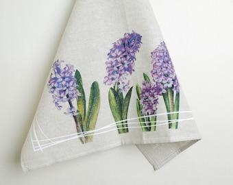 Linen Tea towel, 3 IN SET  Farmhouse hand towel,  spring flowers, Linen dish towel with hanging loop  23 x 18 inch (60 x 47 cm) ktzay