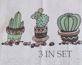 Linen Tea towel, 3 IN SET  Farmhouse hand towel,  Cactus Patern, Linen dish towel with hanging loop  23 x 18 inch (60 x 47 cm) ktzay