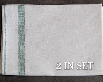 Linen Stripe tea towel, 2 in set Farmhouse hand towel,  kitchen towel, dish towel 27 x 17 inch (70 x 45 cm) ktzay towels with hanging loop