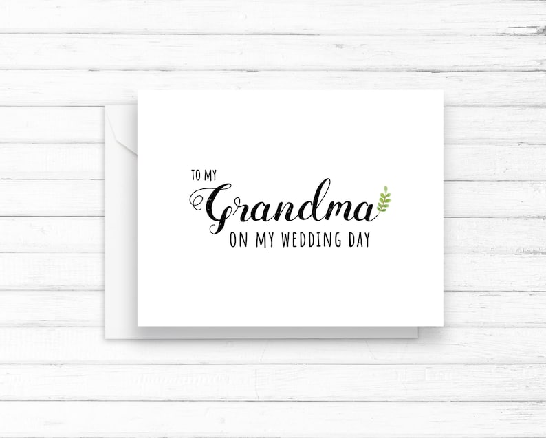 instant download in PDF for cheap DIY gift of thanks To My Grandma on Our Wedding Day Printable Greeting Card
