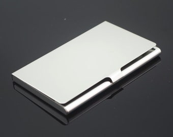 stainless steel business card holder metal card case business card case blank card holder frame hold a standard sized business card - Silver Business Card Holder