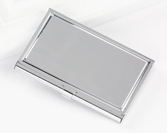silver business card case metal business card holder metal card case blank card holder frame holds a standard sized card - Business Card Cases
