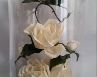 Beautiful White Roses Under a Glass Cupola Dried Flowers Arrangaments
