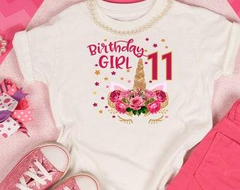 Girls T Shirt Birthday Girl 11 Beautiful Pink And Gold Flower Crown Unicorn Girtl Year Old