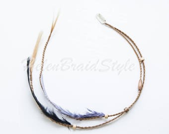 Handcrafted hair extensions Clip in braids braids accessory Feather synthetic hair Hair jewelry black brown grey wood beads Boho Hippie