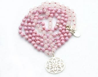 Necklace-Rose Quartz beads-pink-necklace with silver pendant-Flower of life-glass beads-Yoga style
