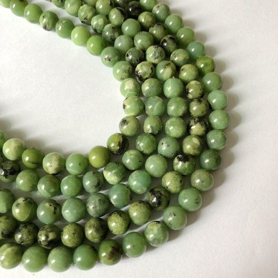 Beautiful Natural White Nephrite 8//10//12//14mm Round Beads Necklace 18/'/' AAA