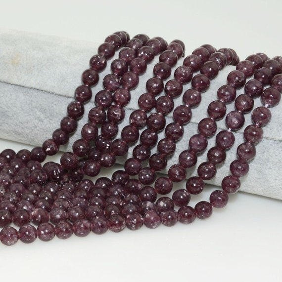 Half Strand 10mm Round Natural Lepidolite Semi Precious Gemstone Beads