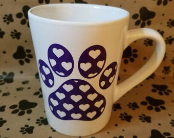 Paw Print Heart Mug for Pet Lovers