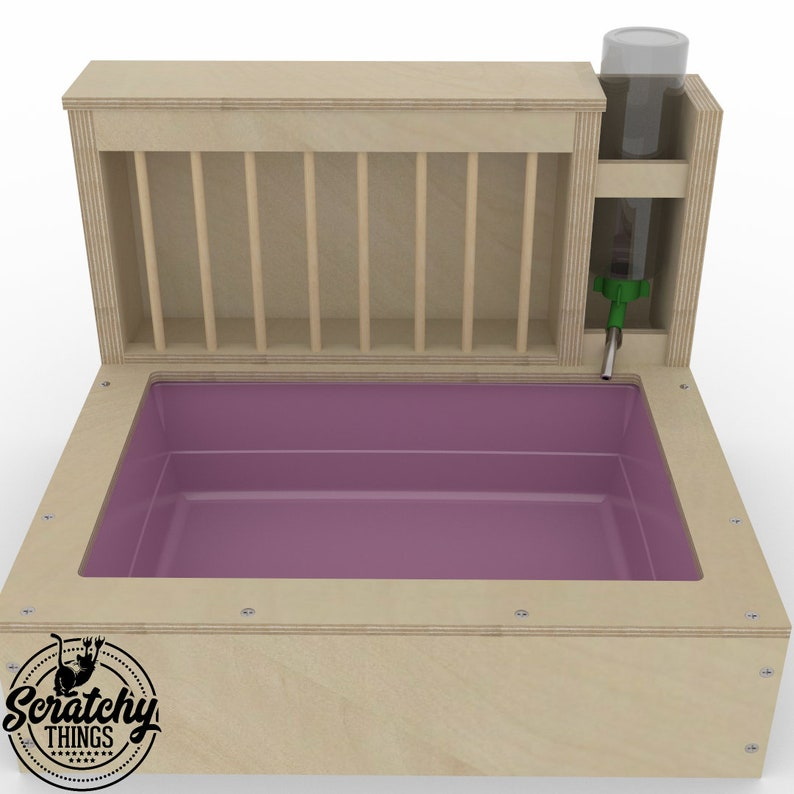 3in1 bunny rabbit hay feeder with built in litter box and a free standing water bottle holder hay feeder hay rack Nibbler Combo Mini