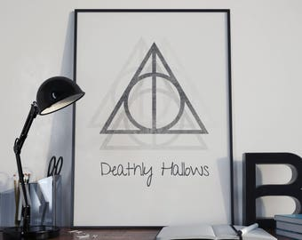 Harry Potter Print, Deathly Hallows, Wall Art, Home Decor, Harry Potter Art,  Harry Potter Gift, Hogwarts