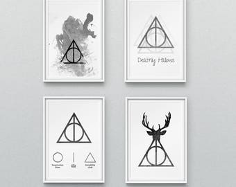 Set of 4, Harry Potter Print, Deathly Hallows, Wall Art, Home Decor, Harry Potter Art,  Harry Potter Gift, Hogwarts