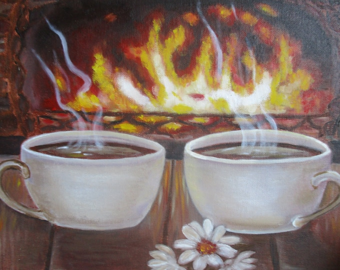 Coffee cups by fireplace.