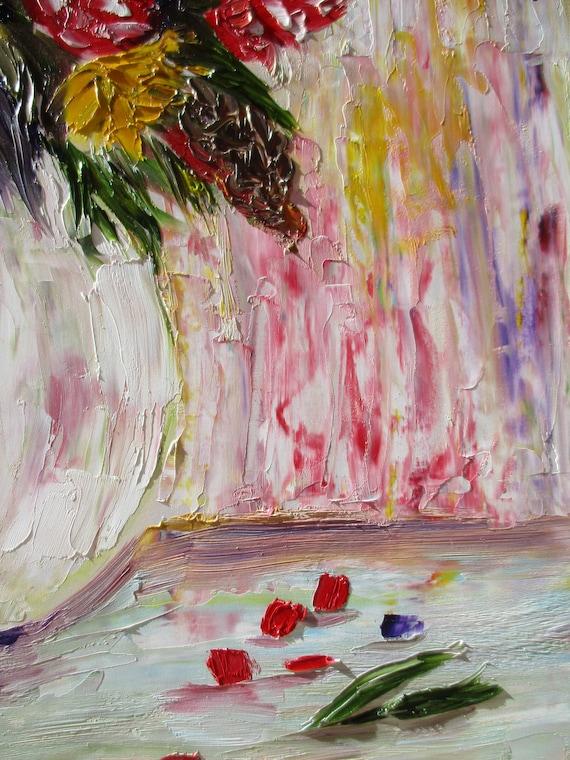 Floral Oil Painting Impasto Painting Palette Knife Art Palette Knife Oil Flowers Painting Flowers Original Painting Art Red Flowers Painting