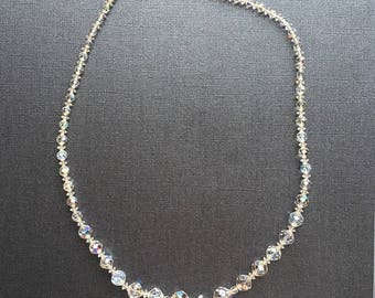 """Vintage Beautiful Sparkly and Fun! Clear Aurora Borealis bead necklace 24"""" long"""