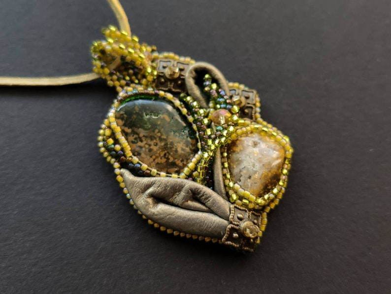 Abstract Art Witchy Jewelry Godmother Gift for Self-healing Pandaknit Nymph Tinny Little Necklace with Jasper Palm Stone