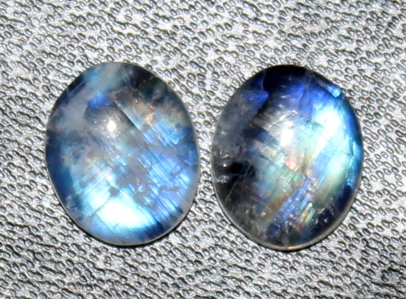 Blue Moonstone pair gemstone,Natural Rainbow moonstone cabochon 12x10 mm Oval shape Matched Pair Smooth Plain Handmade Loose Gemstone #A23