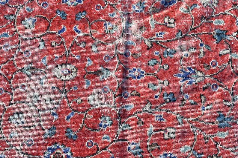 Office Rug 7650 Handmade Bedroom Carpet Entry Carpet Turkish Rug Oushak Carpet Accent Rug Vintage Rug 43x82 Inches Red Rug