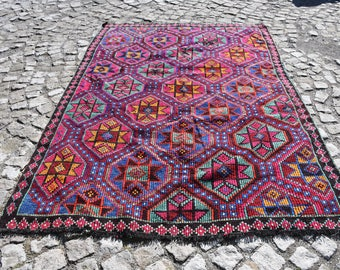 Free Shipping 5.9' x 8.2', Star Kilim, Turkish Vintage Kilim, Multicolored Kilim, Floor Rug, Wool Rug, Electric Kilm, Handicraft Rug SN-1007