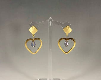 Gold Heart Stud with Crystal Accent