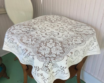 Off white 34 inch square lace tablecloth