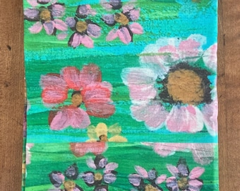 Flower Garden. 21 by 25 inch linen cotton canvas tea towel of my Flower Garden painting. Two fabric hooks on back for hanging.