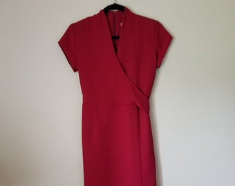 vintage faux wrap dress deep raspberry xs