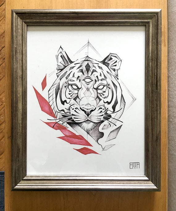 Tiger Silver Framed Art Print | Etsy