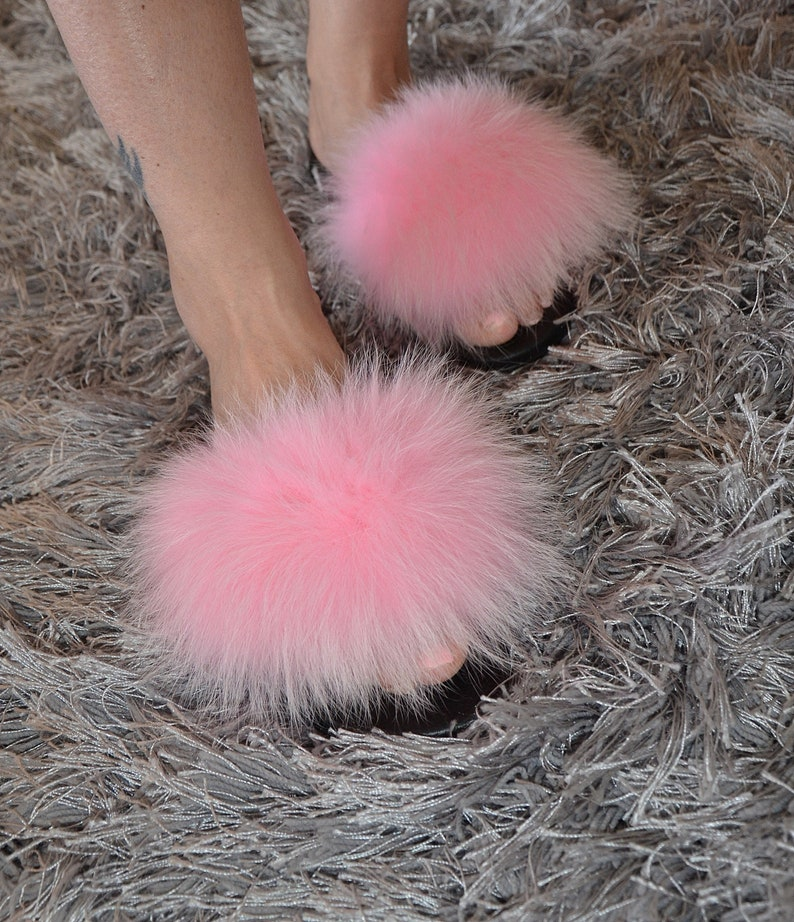 70a6234fb5d09 100% real fox fur trendy slides slippers indoor outdoor must have this  summer