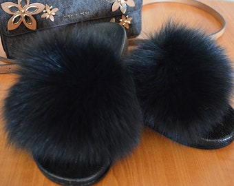 100% real fox fur trendy slides slippers indoor outdoor must have this summer