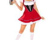 Beer Wench Costume Womens Waitress Bartender Red White Black Dress Lace-Up Detail Ruffled Choker Sexy Seductive Halloween Dress-Up 2-PC 4947