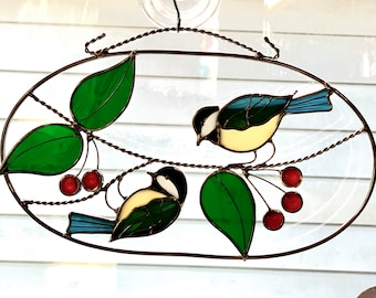 """6"""" x 11"""" Chickadee Horizontal Oval/ 3-D Stained Glass Chickadee Suncatcher/ Songbirds with leaves/"""