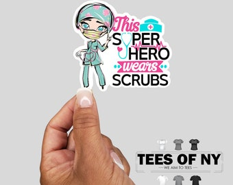 Colorful Nurse Scrubs Vinyl Sticker, Nurse Sticker, Best Friend Gift, Laptop Sticker