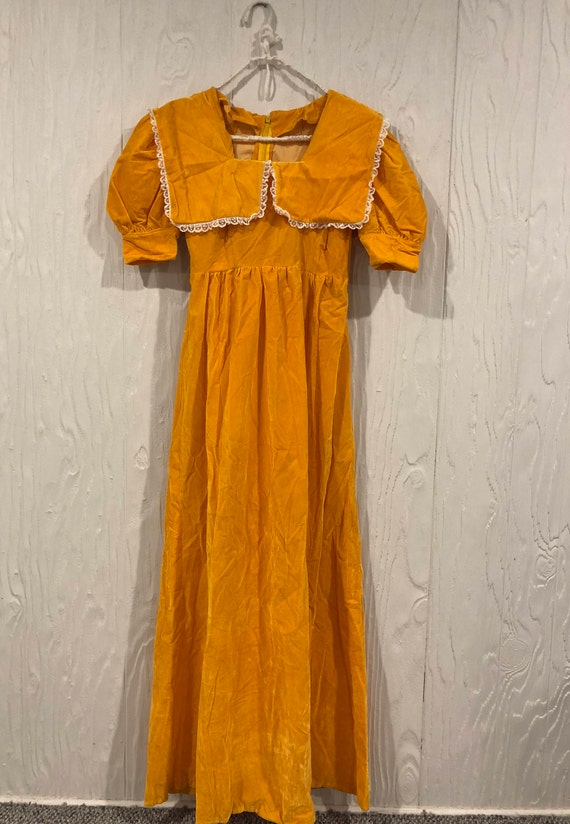 Vintage 1930s Velvet Homemade Yellow Dress