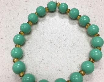 Teal beaded stretch bracelet or anklet